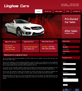 Linghams Cars - Content Management System Website