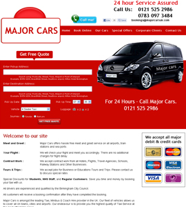 Major Cars UK - Online eCommerce Web Page Design