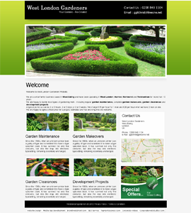 West London Gardeners 1 Page Website Design