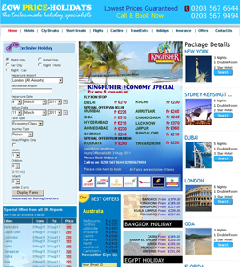 Low Price Holiday Online Travel Booking Website with Travelport API Integration