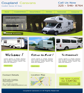 Coupland Caravans - Simple Web Page Design