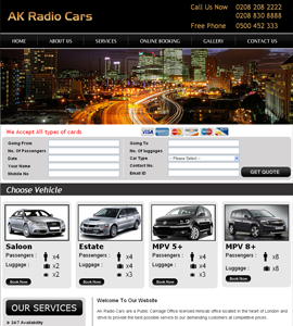 AK Radio Car Hire Website Design